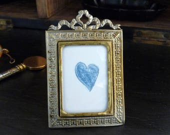 1890 French Antique Frame - Little silver- plated Frame - Style Louis XVI -  French frame - Shabby Chic Frame - MINI Frame