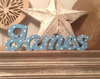 Free-standing Wooden Letters - Personalised Name - Price per letter - 10cm - Hand-painted - various finishes and colours available