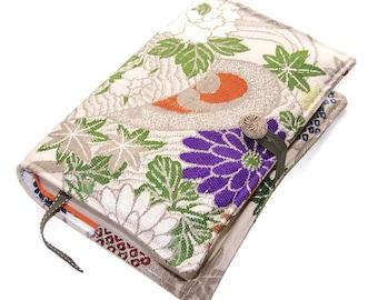 Large Bible Cover, Hardback or Paperback Cover, Blue and Silver Kiku Chrysanthemum Flowers, Vintage Silk Brocade Obi Fabric, UK Seller