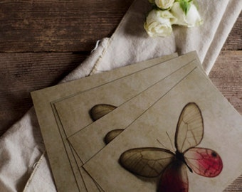 butterfly postcard set, insect stationary, stocking stuffer, wing art, postcards, romantic art cards, 5x7 postcards, butterfly art,