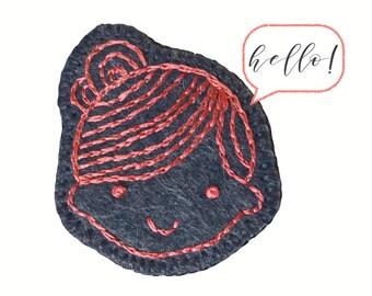 Millie ø Wool Felt Brooch ø Hand Embroidered ø LoftFullOfGoodies