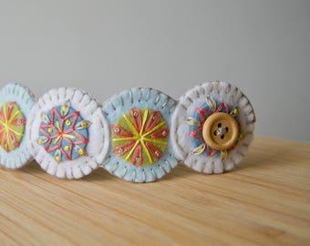 Penny Wool Felt Bracelet Wristband Cuff ø Pastel ø Hand Embroidered ø LoftFullOfGoodies