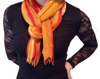 Arashi shibori Pleated Silk Scarf - Style - Chevron, Colour - Marmalade