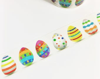 SALE Rainbow Striped Polka Dot Colorful Decorated Eggs Rainbow Easter Eggs Washi Tape 5.5 yards 5 meters 20mm