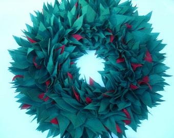 "CHRISTMAS WREATH, Holiday Wreath, Large 18"" Wreath, Fabric Wreath, Rag Wreath, Hostess gift, Green Wreath"