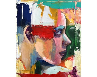Original Figure painting oil on canvas-Head1113-7  x 5 inches