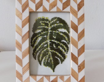 Palm Leaf Hand Embroidered Art 5x7 (unframed)