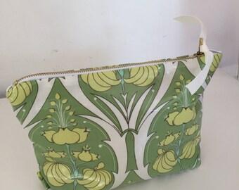 Tassel Zipper bag, cosmetic bag in light gold faux leather