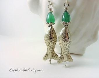 SOMETHING FISHY Emerald Green Onyx, Karen Hill Tribe Fine Silver Fish Bead Earrings, tribal style, fun unique summer earrings