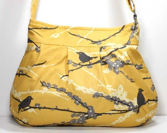 Sparrows Vintage Yellow Pleated Shoulder Purse Hobo Shoulder Bag Cross Body Bag Crossbody Bag - Joel Dewberry Fabric - Made to Order