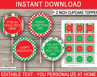 Printable Christmas Cupcake Toppers - Christmas Gift Tags - Christmas Decorations - 2 inch - INSTANT DOWNLOAD with EDITABLE text