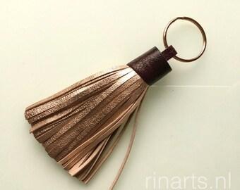 Tassel keychain / fringe keychain in rose gold lambskin and burgundy red ostrich skin top