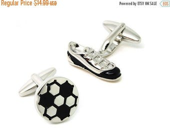 ON SALE Soccer Shoe and Ball Cufflinks - Groomsmen Gift - Men's Jewelry - Gift Box Included