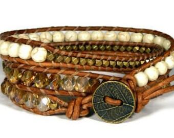 Leather Wrap Bracelet Neutral Three Row Bracelet Brass Leaf Bracelet Boho Bracelet Bohemian Jewelry