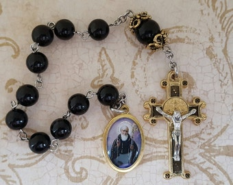 One Decade Rosary, Saint Benedict, Black Onyx, Gold & Silver, Saint Benedict Tenner, Strong, Stainless Steel, Tenner, Gemstone Pocket Rosary