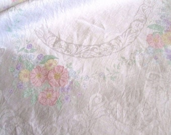 Vintage Damask Linen Tablecloth with Pastel Flowers
