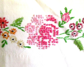 Pair of Vintage Pillowcase Hand Embroidered, Roses