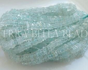 "8"" half strand aqua blue AQUAMARINE square heishi cube beads 5mm - 5.5mm"