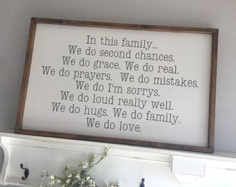 Large Wood Sign - In This Family - Subway Sign - Farmhouse Sign - Hand-Painted Sign - Gallery Wall - Family Sign - Family