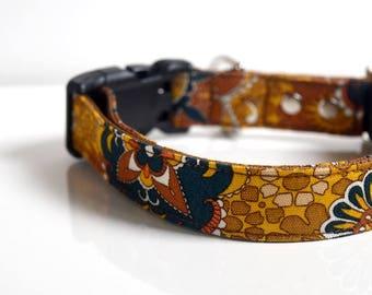 Floral abstract Dog Collar - Mustard