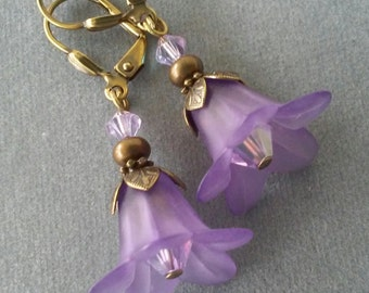 Purple Lucite Flower and Swarovski Crystal Earrings
