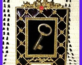 Antique SKELETON Sewing Cabinet Key Framed Enamel Frame, Ruby Gemstone, Gold Lattice on Burgundy