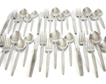 Ekco Eterna Prince Flatware Set Stainless Japan Mid Century Modern Silverware, service for 6 or 7