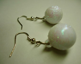 Dangle Earrings, Sparkly White Ball, Woman's Jewelry