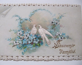 Victorian greeting card, 1897 greeting card postcard, late 1800's antique French friendship card w/ lace-like cut outs, embossed silk doves