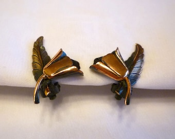Copper Flower and Feather Earrings