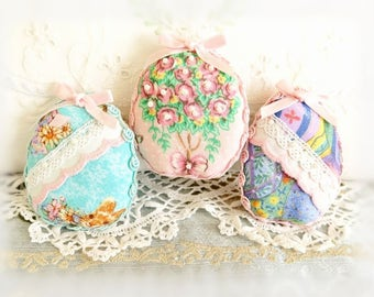 Easter Egg Ornaments Set of 3 with Trim & Pearls Spring Easter Ornament Gift Ornies Bowl Filler Party Decorations Home Decor CharlotteStyle