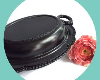 Steampunk Black Vegetable dish, Retro wedding, men's entertaining, Vintage Silver Plate Re-surfaced by BMC Vintage Design Studio FOOD SAFE