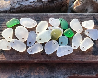Puerto Rico Drilled Sea Glass, White Aqua Green Sea Glass, Jewelry Quality Glass, Drilled for Jewelry, Earrings, Charms, 22 Sea Glass Beads