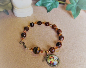 Catholic Rosary Bracelet Our Lady of Perpetual Help Brown Jade and Tiger Eye