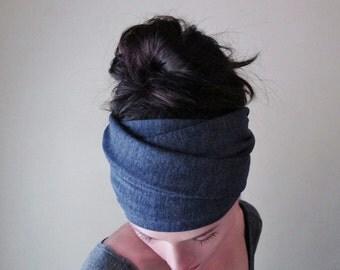 DENIM BLUE Head Scarf - Bohemian Yoga Hair Wrap - Boho Womens Hair Accessories - Heather Blue Headband - Activewear Hair Accessories
