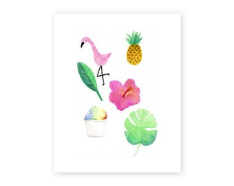 Tropical Hawaii Montage Fine Art Print, 8x10