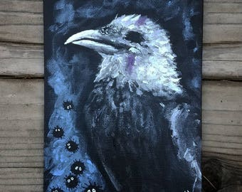 Crow Face - original painting, acrylic on canvas board 5x7
