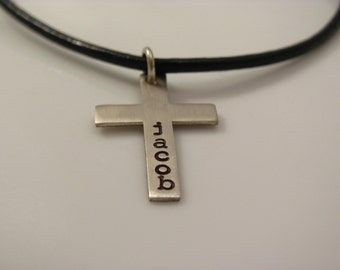 First communion gift- Hand Stamped personalized cross for boys - confirmation gift first communion gift - cross necklace for boys