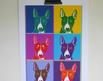Pop Art Dog, Bull Terrier Poster, Quizzical Dog,A3 size