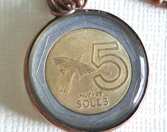 Vintage Coin Pendant from Peru - Nazca Lines