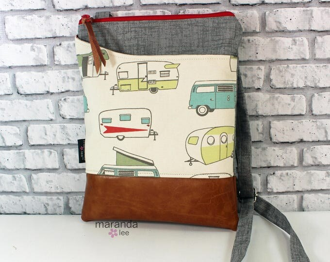 ZOE Messenger -Grey Denim with Retro Campers  READY to SHIp