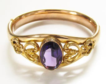 Antique Edwardian Gold Filled Amethyst Bangle Bracelet Cuff Hinged