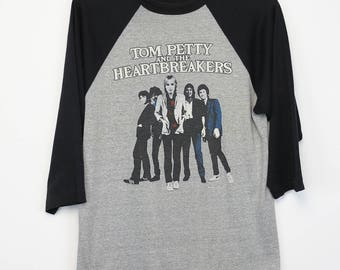 Tom Petty Shirt Vintage tshirt 1981 Hard Promises Tour concert tee 1980s The Heartbreakers raglan jersey heartland blues rock and roll 80s