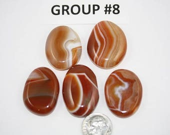 Polished Carnelian Agate Freeform Cabochons Pack of 5 - Group #8