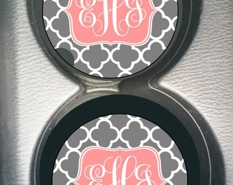 Custom Monogram Gray Quatrefoil Soft Pink  Car Cup Holder Coaster Gift for Women Personalized Sandstone