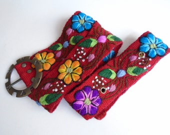 "Handmade Embroidered women's belt size 29"" to 37.5"" in red, organic fashion 2017"