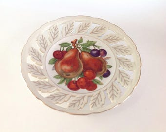 Pear Decorative Plate, Decorative Porcelain Plate, Fruit Plate, Pear and Cherry Plate