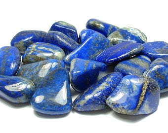 TUMBLED - (2) Medium/Large LAPIS LAZULI Crystals with Description Card - Healing Stone Reiki