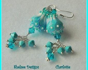 Turquoise and White Earrings,Tulip Earrings,Dangle Earrings,Colorful Earrings,Elegant Earrings - CHARLOTTE