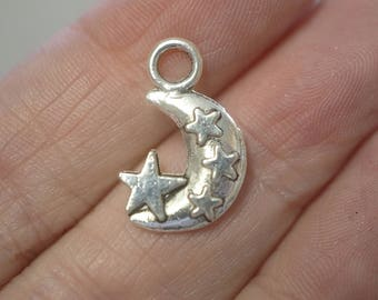 10 Metal Antique Silver Moon & Star Charms - 20mm